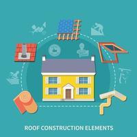 Roofer Flat Composition vector
