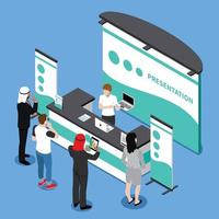 Promotion Stand Isometric Composition Vector Illustration