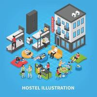 Hostel Isometric Composition Vector Illustration