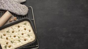 Focacia dough with copy space photo