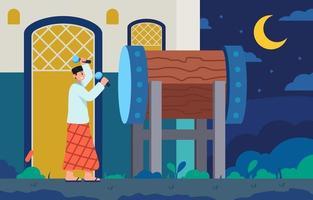 musulmán golpeando bedug en la noche de ramadán vector