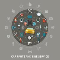 Ilustración de vector de concepto de servicio de neumáticos