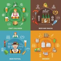 Beer Flat 2x2 Set Vector Illustration