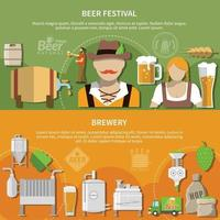 Flat Beer Banners Vector Illustration