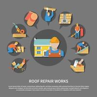 Roofer Flat Flyer vector