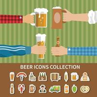 Flat Beer Icons Collection Vector Illustration