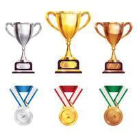 Premio trofeo medalla conjunto realista ilustración vectorial vector