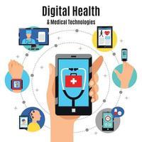 Ilustración de vector de composición plana de tecnologías de salud digital