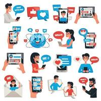 Electronic Communication Devices Icons Set Vector Illustration