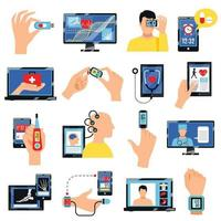 Digital Healthcare Technology Icons Set Vector Illustration