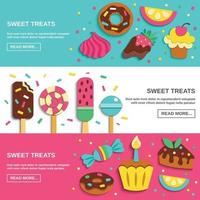 Sweets Candies Flat horizontal Banners Vector Illustration