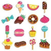 Sweets Party Treats Icons Collection Vector Illustration