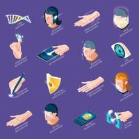 Biometric Authentication Isometric Icons Vector Illustration