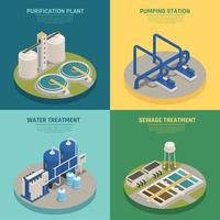 Ilustración de vector cuadrado de iconos isométricos de purificación de aguas residuales