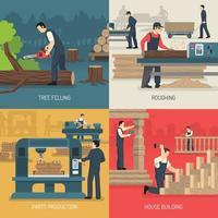 Wood Works Design Concept Vector Illustration