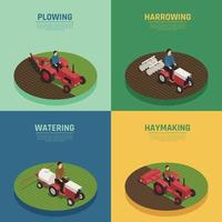 Farm Machinery 4 Isometric Icons Vector Illustration