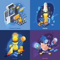 Startup Entrepreneurship Isometric Icons Concept Vector Illustration