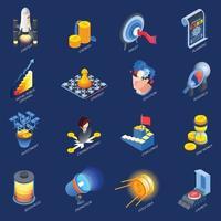 Startup Entrepreneurship Isometric Icons Set Vector Illustration