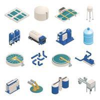 Los iconos isométricos de purificación de aguas residuales establecen ilustración vectorial vector