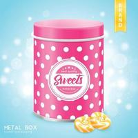 Realistic Metal Box For Sweets Vector Illustration
