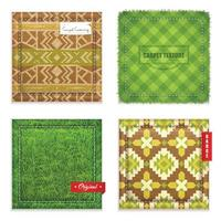 Realistic Carpet Texture Pattern Set Vector Illustration