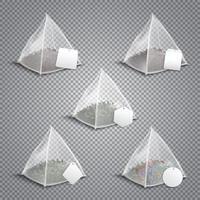 Ilustración de vector realista de bolsas de té de pirámide