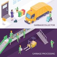 Ilustración de vector de banners isométricos de reciclaje de basura