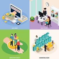 Los iconos del concepto de seguridad social establecen ilustración vectorial vector