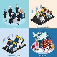 Airplane Passengers Concept Icons Set Vector Illustration