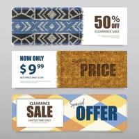 Realistic Carpet Texture Banners Set Vector Illustration