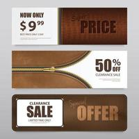 Realistic Leather Texture Sale Banners Vector Illustration