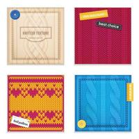 Knitted Patterns Realistic Samples Set Vector Illustration
