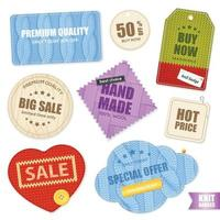 Realistic Knitted Badges Labels Collection Vector Illustration