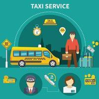 composición de taxi de servicio de coche vector