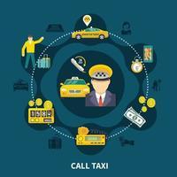 composición redonda de la piscina de taxis vector