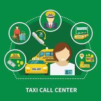 composición del taxi del centro de llamadas vector