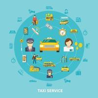 iconos de taxi composición redonda vector