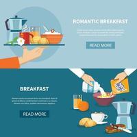 Breakfast Banners Set Vector Illustration