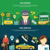 Colección de banners de servicio de taxi. vector