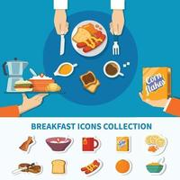 Flat Breakfast Icons Collection Vector Illustration