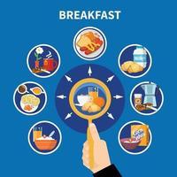 Flat Breakfast Concept Vector Illustration