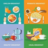 Flat 2x2 Breakfast Icons Set Vector Illustration