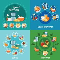 Breakfast 2x2 Icons Set Vector Illustration