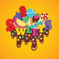Ilustración de vector de composición colorida de moda de comida rápida de dulces