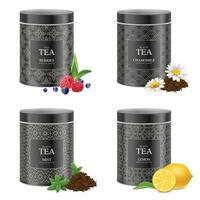 Realistic Blak Tea Tins Set Vector Illustration