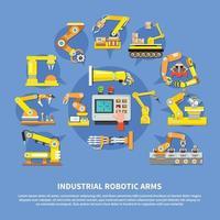 Ilustración de vector de composición de brazos robóticos industriales