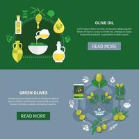 Green Olives Horizontal Banners Vector Illustration