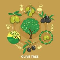 Olive Tree Round Composition Vector Illustration