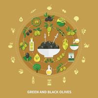 Olives Round Composition Vector Illustration
