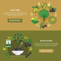 Olive Tree Horizontal Banners Vector Illustration